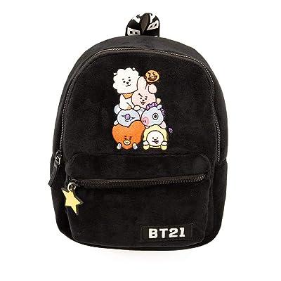 Line Friends BT21 Plush Backpack - Plush Mini Backpack - Tata, Van, Chimmy, Cooky, Shooky and RJ (Black)