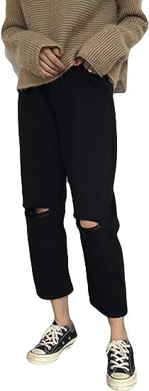 Alppvジーンズ レディース デニム パンツ 美脚 秋 冬 ズボン ゆったり ワイドパンツ 大きいサイズ ダメージ加工 九分丈 トレートパンツ ボトムス 着痩せ 無地 韓国風 通勤