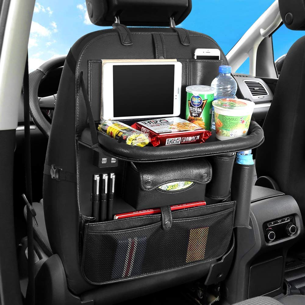 AUCD Back Seat Car Organizer with Tablet Holder and 4 USB Charging Port, Car Organizer for Kids Baby Toddlers Toy Bottles Storage Foldable Dining Table Family Road Trip Travel Accessories (Black) by AUCD