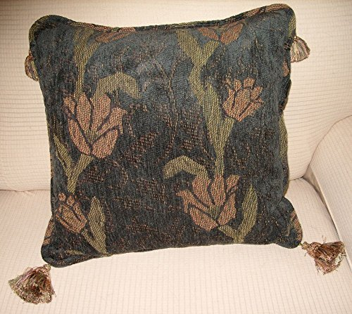Decorator Fabric Pillow. Multi-Floral design on soft Gray-Green background. Luxurious Tassels and Piping. Handmade in the USA in my Smoke-free home. (Decorator Tassels)
