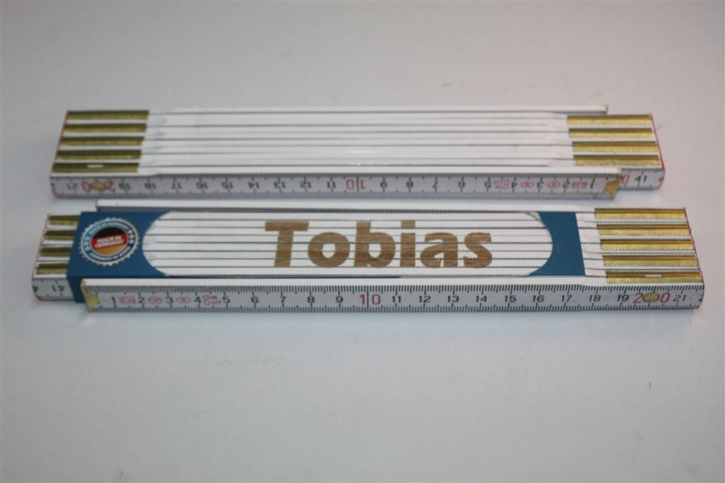 Zollstock mit Namen TOBIAS Lasergravur Handwerkerqualit/ät