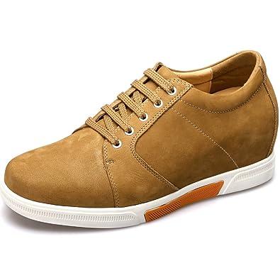 CHAMARIPA Chaussures Rehaussantes Sneakers en Cuir Suède Hautes Homme - Grandit DE 7,5 cm-K70M83