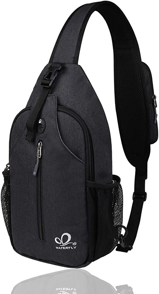 Waterfly Crossbody Sling Backpack Sling Bag Travel Hiking Chest Bag Daypack (Black) : Clothing