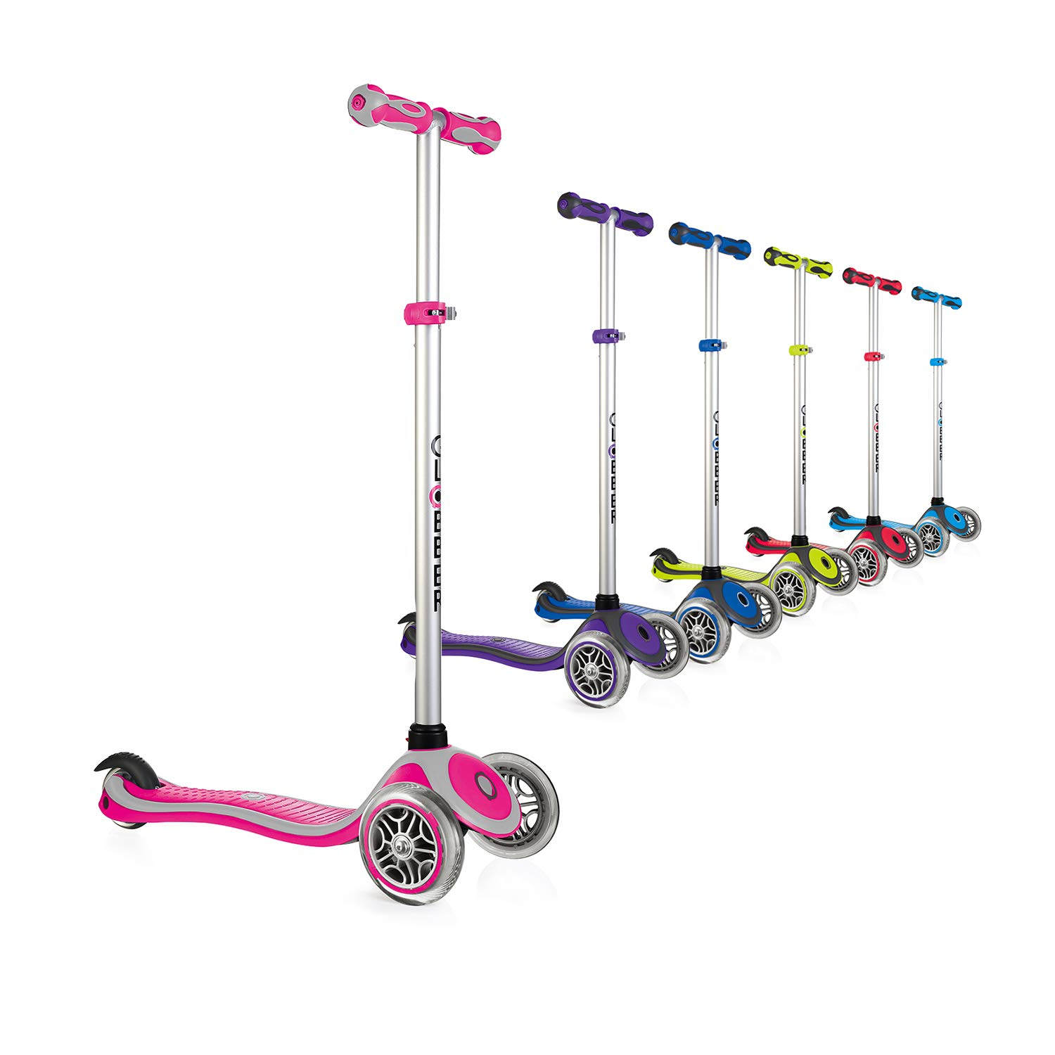 Globber Primo 3 Wheel Adjustable Height Scooter (Pink/Gray) by Globber