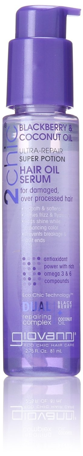 Giovanni 2chic Ultra Repair Super Potion Hair Oil Serum, Blackberry and Coconut Milk 2.75 oz. (Pack of 12)