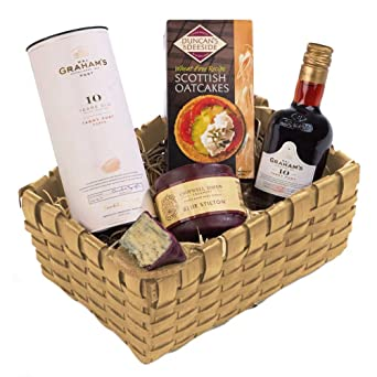 traditional port stilton christmas basket tray gift set free uk delivery
