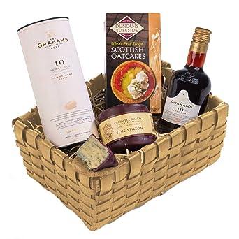 traditional port stilton christmas basket tray gift set free uk delivery