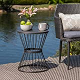 Great Deal Furniture Fern Outdoor 16 Inch Matte Black Iron Side Table