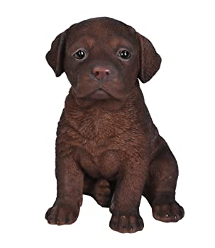 sitting chocolate lab puppy statue