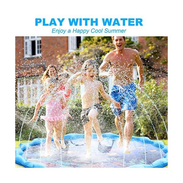 Gifort Tappetino Gioco d'Acqua per Bambini 68in/172cm, Splash Play Mat Gioco di Spruzzi d'Acqua Tappetino Gonfiabile… 3 spesavip