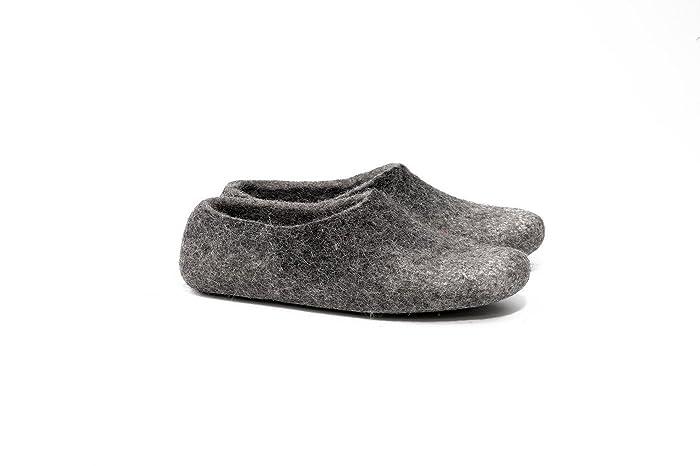 526b400f1f096 Grey felted wool clogs for women, Warm woolen slippers, Handmade ...