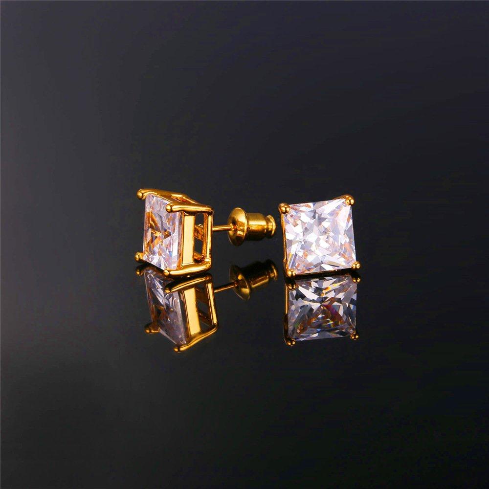 U7 CZ Stud Earrings Gold Plated White Square 2.75 Carat Cubic Zirconia Earring for Women Girls