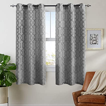 Light Filtering Curtains for Windows Jacquard Curtain Panels for Living  Room 63 inch Length Opaque Geometry Trellis Pattern Privacy Bedroom  Curtains ...