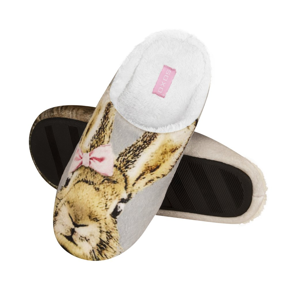 Ladies Plush Fleece Lined Cosy Applique Polar Bear Mule Slippers In 3 UK Sizes