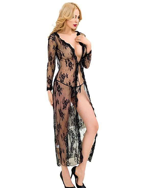 ohyeahlady Women s Sheer Floral Lace Long Nightgowns Plus Size Lingerie  Robes at Amazon Women s Clothing store  0939c72e6