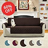 Soft and Smooth Quilted Quick Drape Reversible Faux Suede Plush Furniture Cover with Elastic Straps, Prevent Stains / Spills Protector for Sofa, 75 inch X 110 inch (Sofa - Brown/Beige)