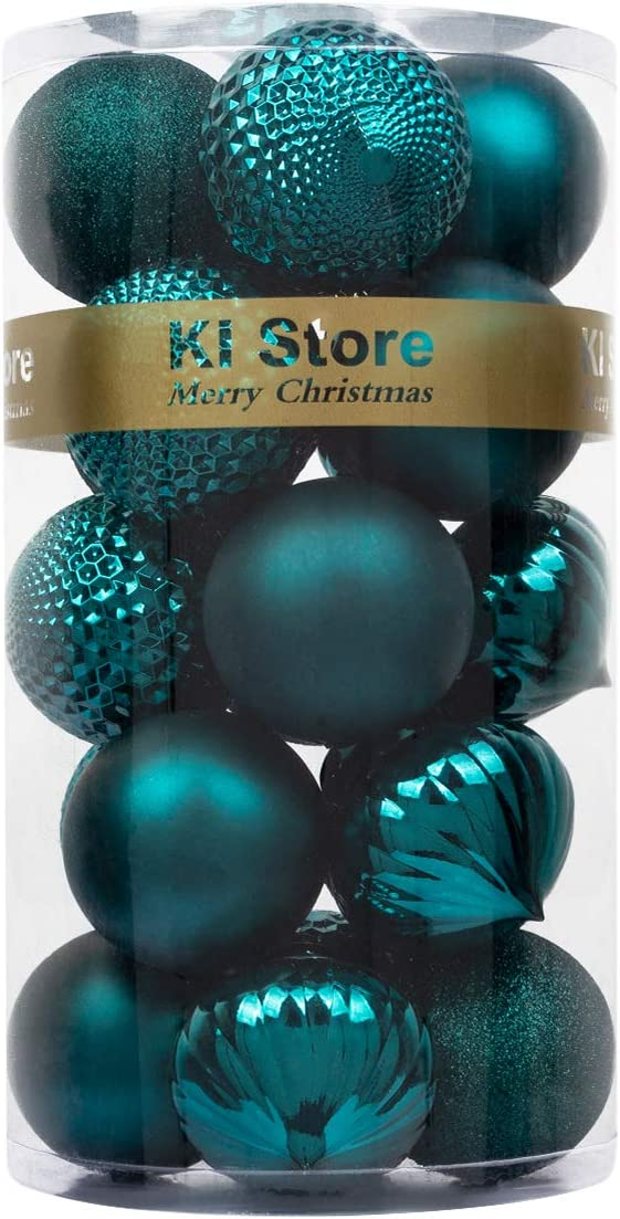 KI Store Large Christmas Balls Dark Teal 20pcs Shatterproof Christmas Tree Ornaments Decorations for Xmas Trees Home Decor DIY Handcraft 3.15-Inch 80mm