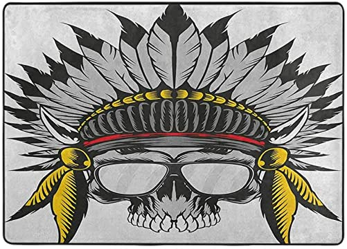 Kids Bedroom Mats Decorative Skull,Dead Ancient Native American Tribe Leader Feather Head Crown with Glasses, Grey Yellow and Red 84 x 60 in Rugs