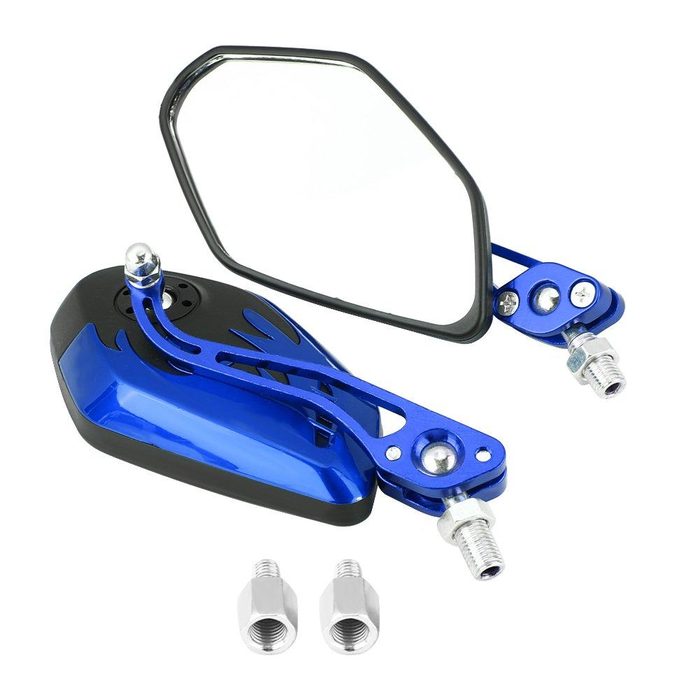 Keenso 1 Paar 8mm 10mm Universal Motorrad Rü ckspiegel Roller Aluminium Flamme Muster Seitenansicht Spiegel(Blau)