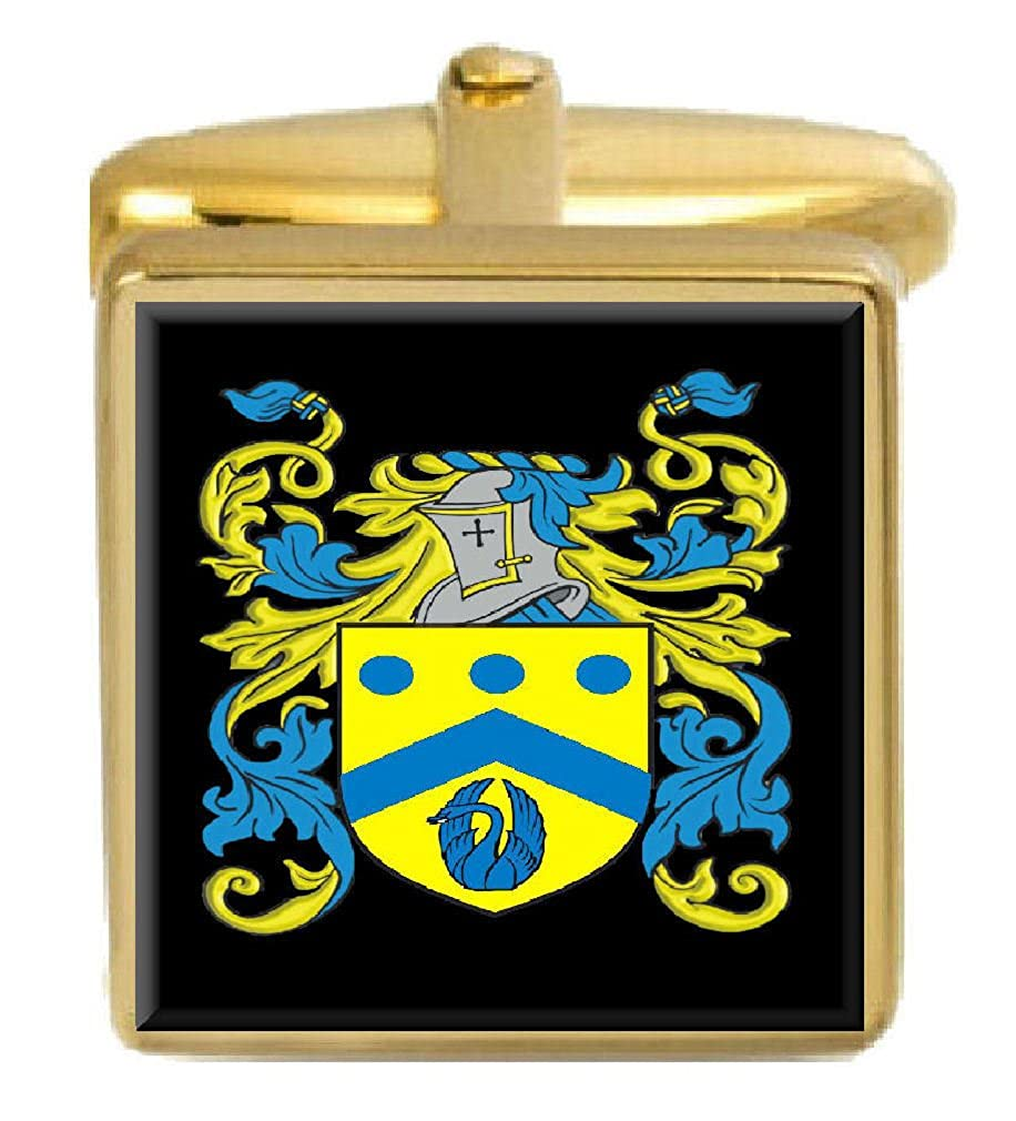 Select Gifts Lovett Ireland Family Crest Surname Coat Of Arms Gold Cufflinks Engraved Box