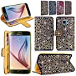 Galaxy S6 Case - Cellularvilla Diamond Glitter Bling Crystal Rhinestone Design Pu Leather Wallet Flip Open Pocket ID Holder Card Slots Case Cover For Samsung Galaxy S6 (Gold Silver)