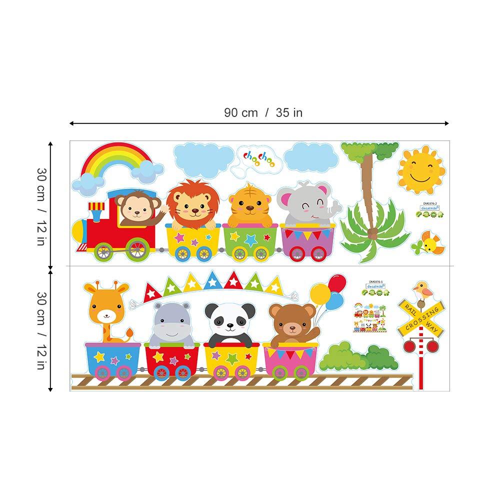 decalmile Animal Train Wall Decals Monkey Lion Elephant Wall Stickers Baby Nursery Kids Bedroom Wall Decor
