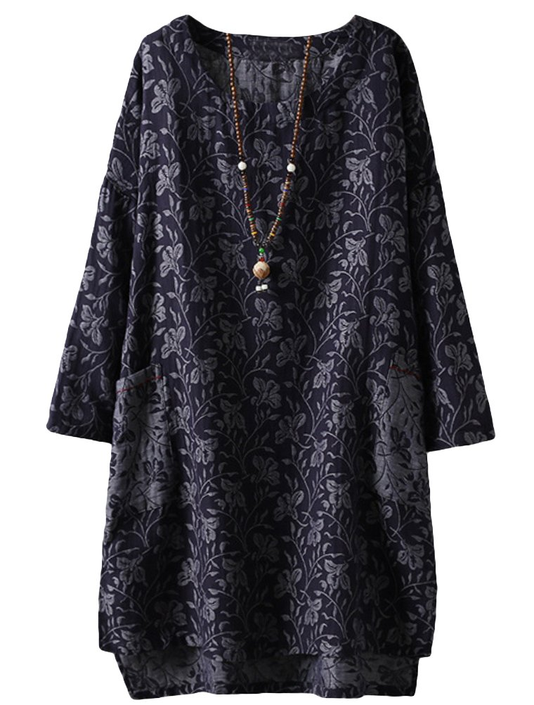 Minibee Women's Long Sleeve Hi-Low Pullover Jacquard Ethnic Style Tunic Tops Navy Blue XL