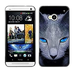 PC/Aluminum Funda Carcasa protectora para HTC One M7 Grey British Shorthair Cat Pet Blue Eyes / JUSTGO PHONE PROTECTOR