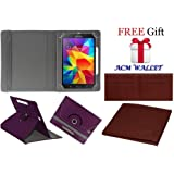 Acm Rotating Leather Flip Case For Samsung Galaxy Tab 4 T231 Tablet Tablet Stand Cover Holder Purple (FREE Acm Wallet Included)