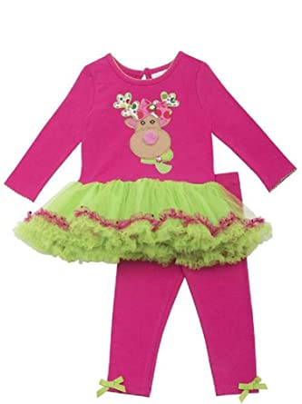a805f82c0 Rare Editions Baby Girl Holiday Christmas Reindeer Tutu and Leggings  (3m-24m) (