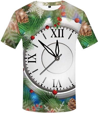 Luotears 3D Camiseta Hombres Casual Feliz impresión Ropa Mapa Reloj mágico Estrellas Doradas Efectos visuales: Amazon.es: Ropa y accesorios