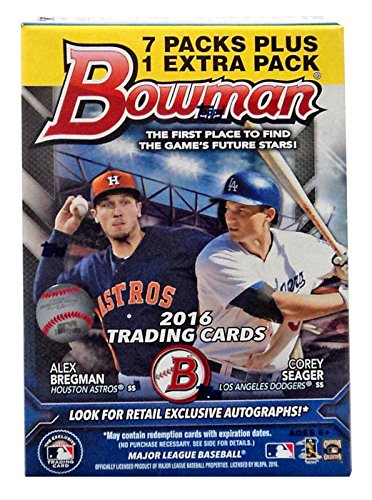 2016 Bowman Baseball Value Box Blaster With 8 Packs and 10 Cards each. Look For Retail Exclusive Green Refractors.