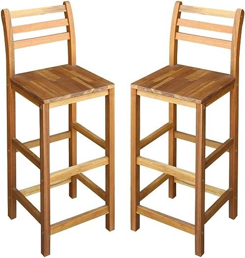 Reviewed: vidaXL 2X Solid Wood Bar Chair Indoor Outdoor High Stool Bistro Pub Restaurant