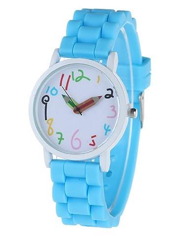FEOYA - Niños Reloj de Analógico Colorido para Adolescentes y Estudiantes Correa de Silicona Esfera Grande Watch Reloj Infantil - Azul: Amazon.es: Relojes