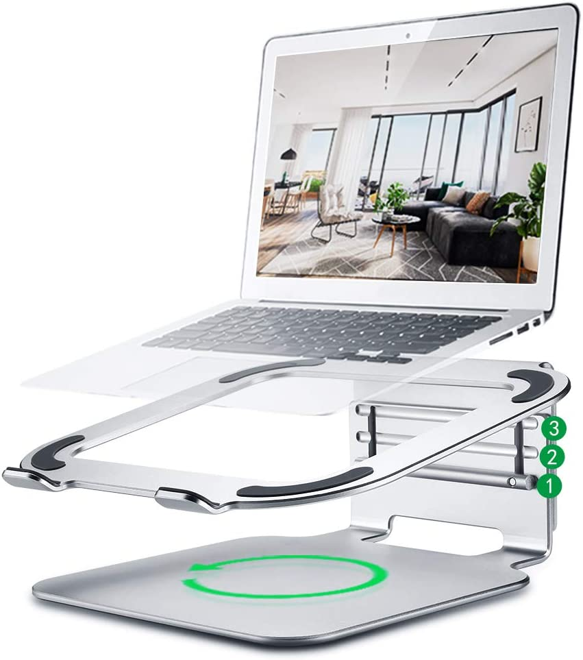 Laptop Stand, Aluminum Ergonomic Ventilated Laptop Riser, 360°Rotating Adjustable Notebook Stand Holder for All Laptops up to 17 inch,MacBook Pro/Air, HP, Dell and More