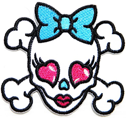 Cross Bone Pink Heart Bow Sugar Baby Skull Ghost Day Of The Death Love Never Die Rockabilly Lady Rider Hippie Punk Tatoo Jacket T-shirt Patch Sew Iron on Embroidered Sign Badge (Skull Sock Mask)