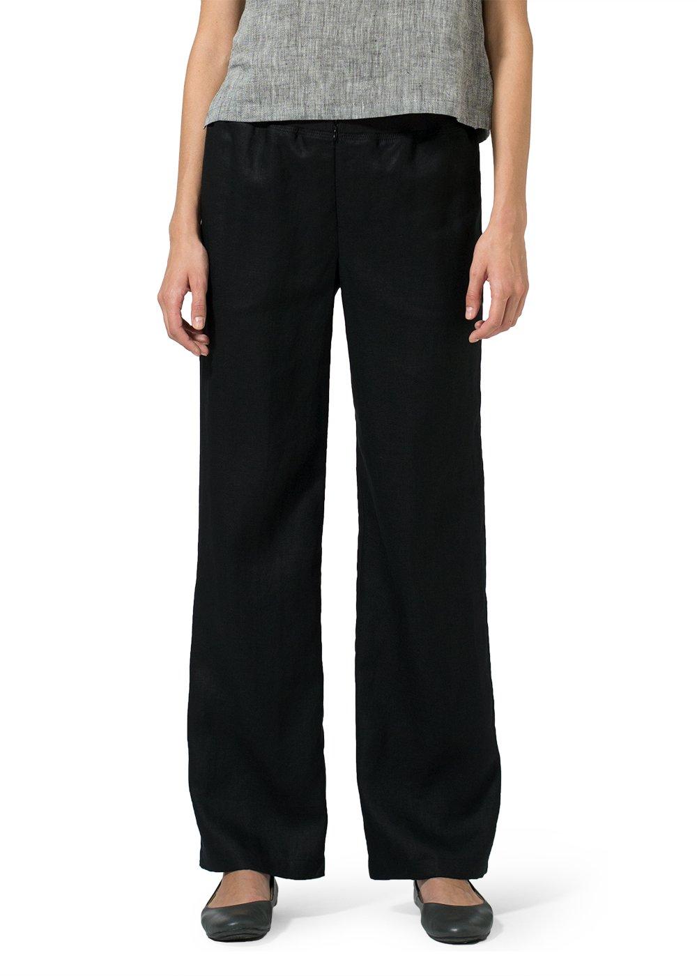 Vivid Linen Long Straight Leg Pants-M-Black