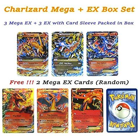 EX Mega Pack of 3 Mega & 3 EX – Charizard Flashy Cards English with Box and Sleeve # Promotion Free 2 Mega EX (Mega Charizard Ex Japan)