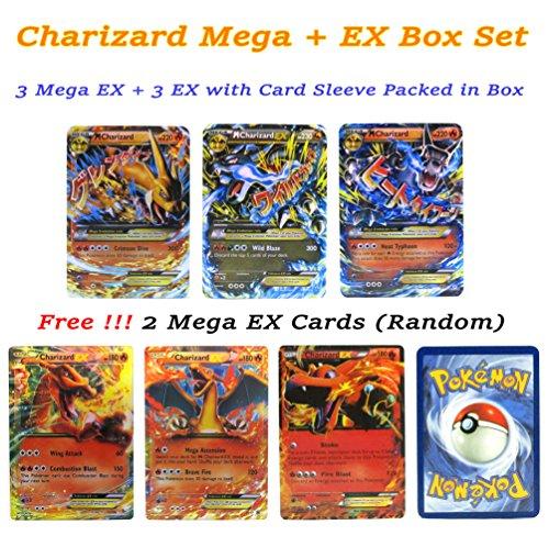 EX Mega Pack of 3 Mega & 3 EX – Charizard Flashy Cards English with Box and Sleeve # Promotion Free 2 Mega EX (Charmeleon Halloween Costume)