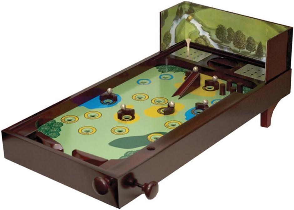 Wooden Golf Recreational Desktop Pinball Game Decor Display, Brown