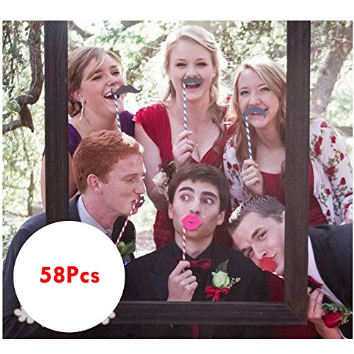 Poison Props (New 58PCS Masks Photo Booth Props Mustache On A Stick Birthday Wedding Party DIY 4.8 average based on 4 product ratings)