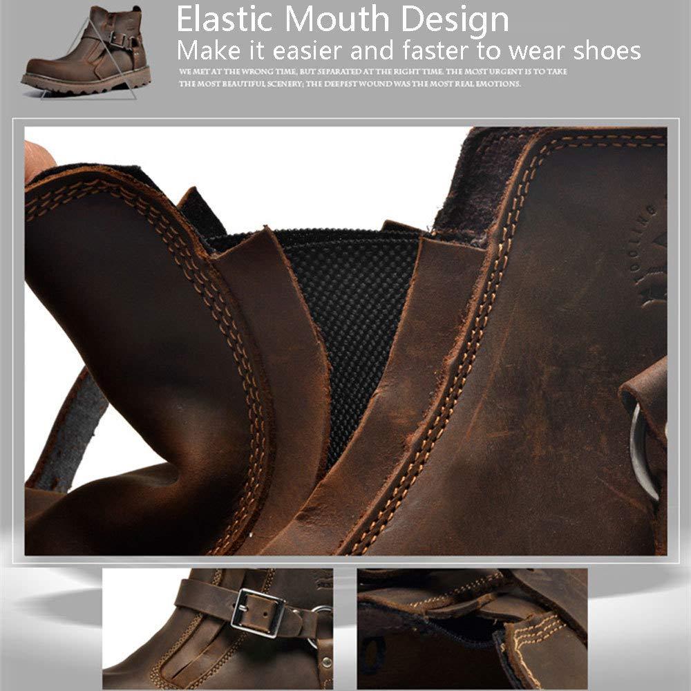WANG-LONG Schuhe Herren Herren Herren Stiefel Martin Outdoor Plus Samt Warme Werkzeug Militär Leder Herbst Und Winter Rutschfeste Mode,rotdish-braun-41 2f094a