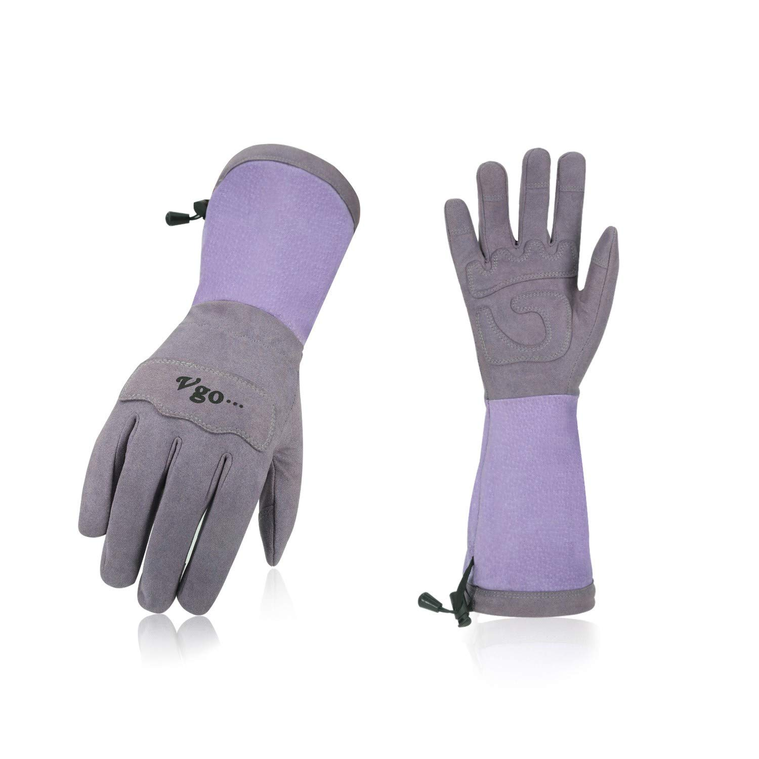 Vgo Ladies' Synthetic Leather Palm with Long Pig Split Leather Cuff Rose Garden Gloves (1Pair,Size M,Purple,SL6592W)