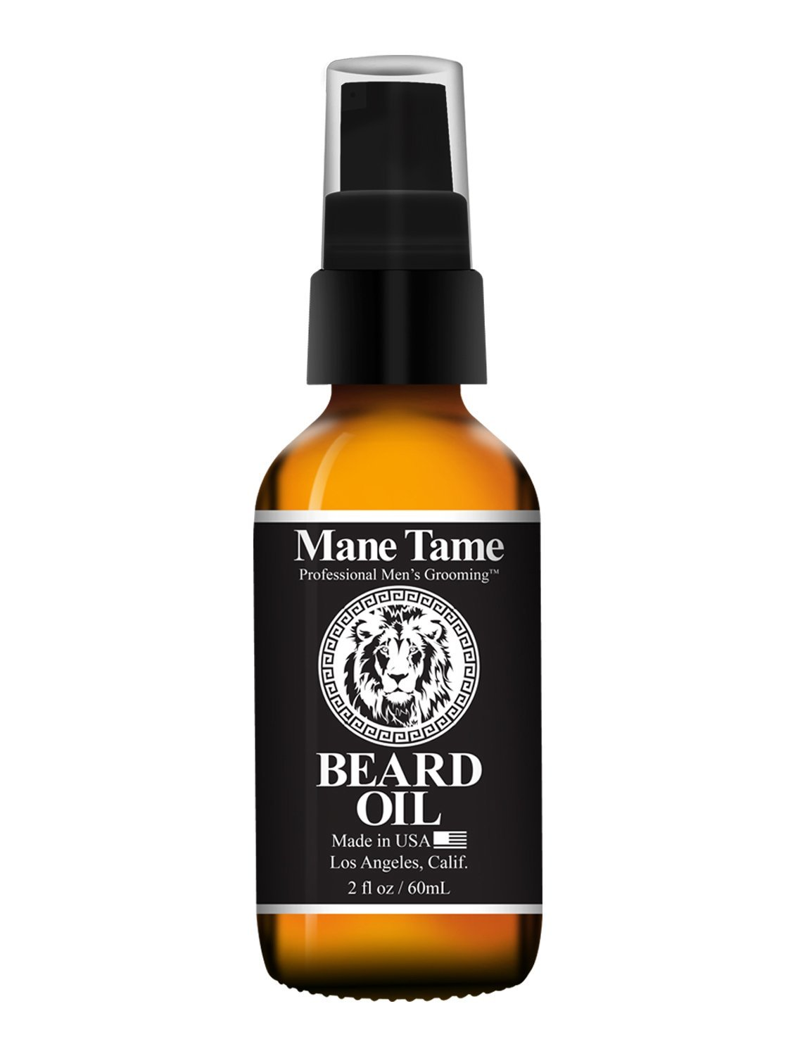 Mane Tame Beard Oil - Made with Certified Organic Hemp Oil - No Fuss Pump 2oz Bottle - Softens Your Beard and Stops Itching - Great Beard Oil and Conditioner For Men