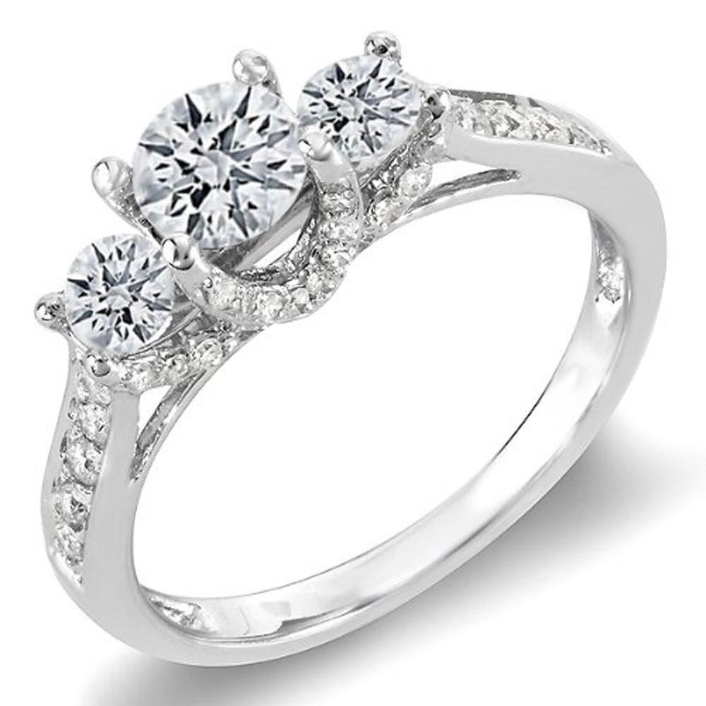 1.00 Carat (ctw) 14K White Gold Round White Diamond 3 Stone Bridal Engagement Ring 1 CT (Size 9)