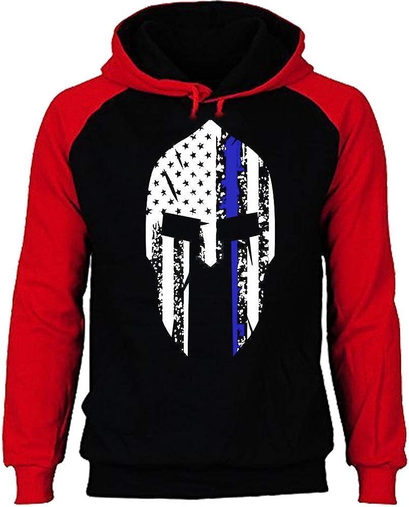Spartan Helmet Thin Blue Line US Flag Baseball Hoodie Raglan Arm Police Sweatshirt