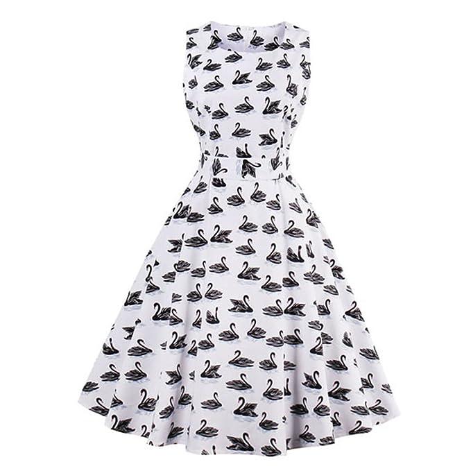 UniqStore Vestido retro Sin mangas Cisne Vestidos cotidianos de Algodón y Elastano V-cuello: Amazon.es: Ropa y accesorios