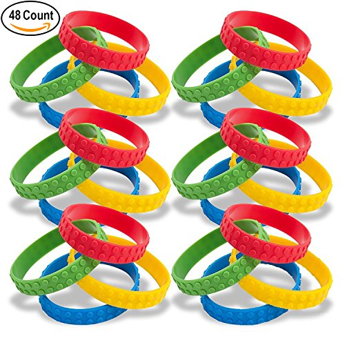 48 Building Block Brick Theme Rubber Silicone Bracelets Wristbands for Teens Kids Children Boys and Girls for Birthday Party Favors Supplies Goody Bags Carnival Classroom Rewards by Gift Boutique