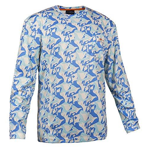 Grundens 40011 Men's Fish Head Performance Shirt, Blue Water Camo - L ()