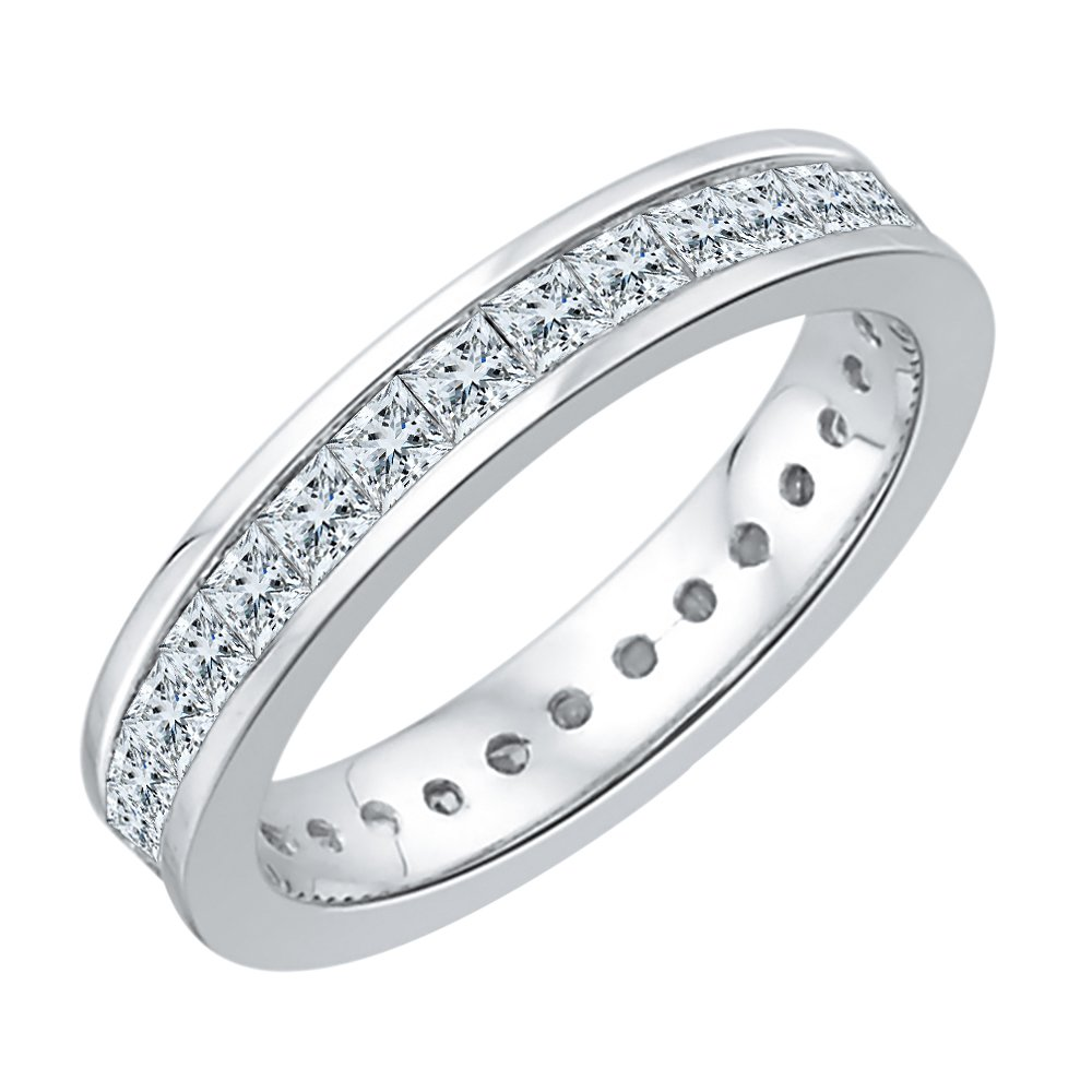 Princess Cut Diamond Eternity Band in Sterling Silver (1 cttw) (GH-Color, I2/I3-Clarity) (Size-7)